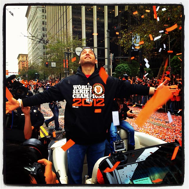 Marco Scutaro at today's Giants parade in SanFrancisco..