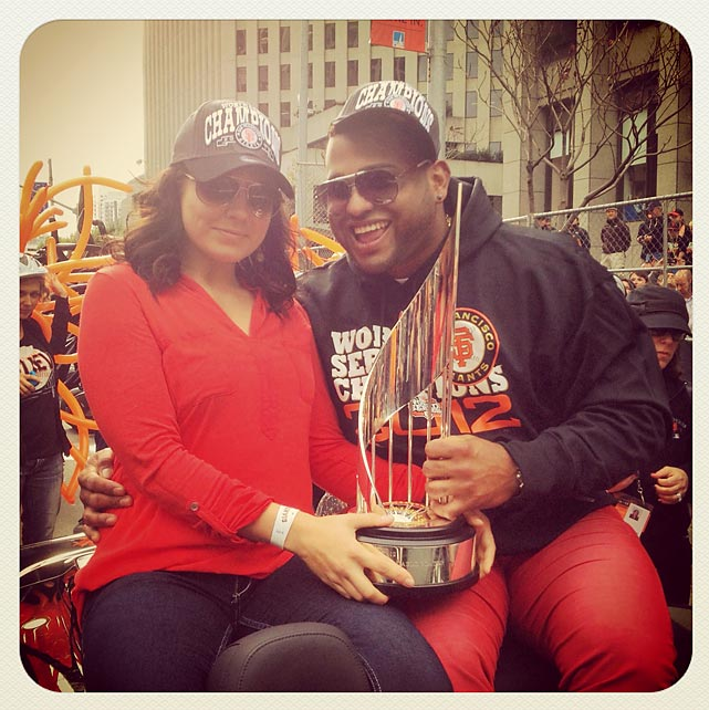 Pablo Sandoval and his WS MVP trophy before the parade.