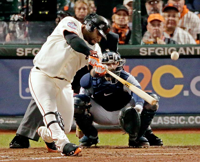 Facing the best pitcher in Major League Baseball, Pablo Sandoval swung freely and, in turn, became a World Series icon. Sandoval hit two home runs off of Justin Verlander and then a third against Al Albuquerque to help the Giants to a Game 1 victory over the Tigers.