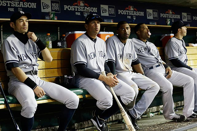The New York Yankees, with a big league-high $210 million payroll, hit .188 in the postseason -- a record low for a team that played at least seven games -- and .157 in the LCS.  Five players in particular (A-Rod, Robinson Cano, Nick Swisher, Curtis Granderson and Russell Martin) batted a combined .122 in the postseason, while being paid about $72 million combined in 2012.  That amount is more than the entire team payroll of seven other clubs, including the division rival Tampa Bay Rays ($64 million) and the AL West-winning Oakland Athletics ($53 million). What follows is a look at the postseason ineptitude of each of those players.