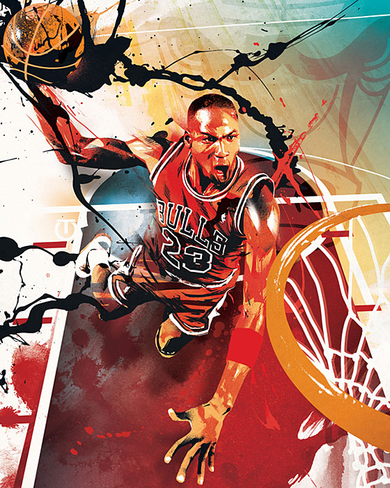 RareInk and the NBA have partnered up to launch a 100-piece art collection featuring the top players, teams, and moments in NBA history. Basketball fans can help determine future art pieces by voting for players and moments in RareInk's monthly art polls. For more information,  visit RareInk.com.   In the meatime, SI presents some of the best pieces from the collection.