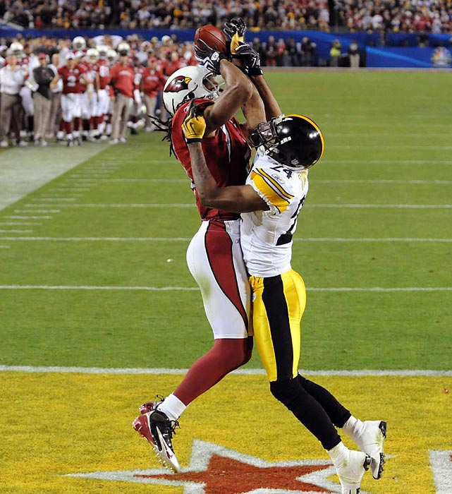 While it may be a painful memory for Cardinals fans, the first Super Bowl in team history was an exciting one. Kurt Warner found Larry Fitzgerald on a 64-yard post route to give Arizona a 23-20 lead with 2:37 remaining in Super Bowl 43. It was Arizona's first lead of the game.