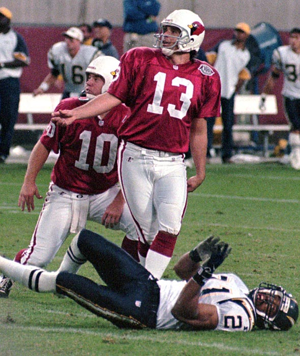 Chris Jacke hits game-winning 52-yard field goal as time expires to beat San Diego and clinch the first playoff berth since 1982, when the Cardinals were in St. Louis.
