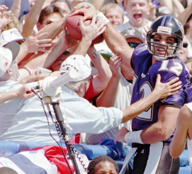 The Ravens beat the Raiders in their first ever game in front of the biggest crowd to ever witness a sporting event in Baltimore. Quarterback Vinny Testaverde scored the first touchdown in team history and running back Earnest Byner clinched it in the fourth quarter for a 19-14 win.