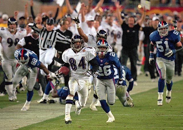 The Ravens vaunted defense suffocated the Giants, recording four sacks, forcing five turnovers, returning an interception for a touchdown and even returning a kickoff for a TD. The Ravens became the third Wild Card team to win a Super Bowl.