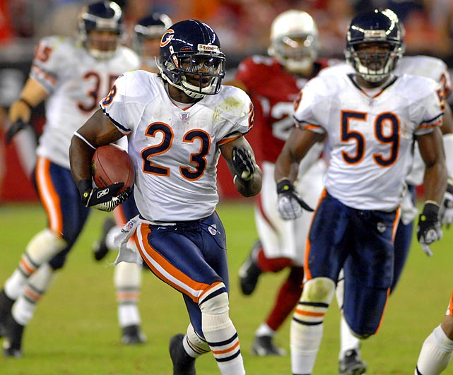 The Bears trail 20-0 at halftime against the upstart Arizona Cardinals, who are hosting their first Monday Night Football game in the brand new University of Phoenix Stadium. Despite six turnovers and a horrific game from Rex Grossman, the Bears' defense stops the Cardinals, turns turnovers into touchdowns and cap it off with a Devin Hester punt return for a TD. Some say that was the kickoff for the Bears eventual Super Bowl berth that season.