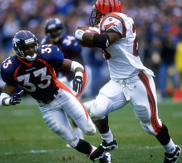 Talented but controversial running back Corey Dillon rushes for 246 yards on 39 carries against the Denver Broncos, setting an NFL rookie record that had been held for almost 40 years by former Browns running back Jim Brown.