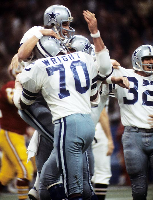 Backup quarterback Clint Longley takes over for an injured Roger Staubach during a Thanksgiving grudge match with the rival Washington Redskins. Already trailing 16-3 when Longley comes into the game, Longley throws three touchdown passes -- capped off by a 50-yard touchdown pass to Drew Pearson to clinch it before families sat down for dinner.