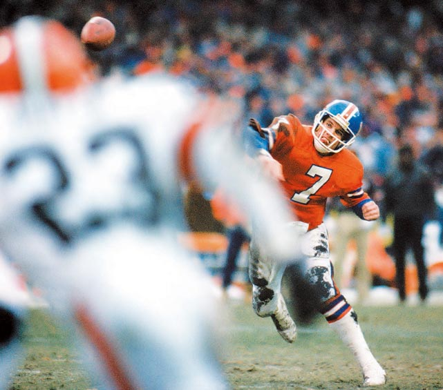 Down 20-13 in the AFC Championship Game against the Cleveland Browns, John Elway and the Denver offense field the ball at the two-yard line with 5:32 remaining. Fifteen plays and 98 yards later (and without ever facing a fourth down), the Broncos  tied the game on a five-yard touchdown pass from Elway to Mark Jackson. Denver eventually won the game in overtime on a Rich Karlis field goal.