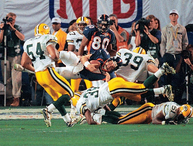 Playing in his fourth Super Bowl without ever having won one, John Elway faced a pivotal third-and-six in the third quarter of a 17-17 tie with the Green Bay Packers. While the audience (and apparently the Packers' defense) expected the Broncos to go to 2,000 yard rusher Terrell Davis, Elway took the ball on his own. Instead of sliding, Elway dove head first with three Packers' defenders converging on him, causing the 37-year old Elway to flip in the air for the first down. The Broncos would score a touchdown on that drive and win their first Super Bowl in franchise history.