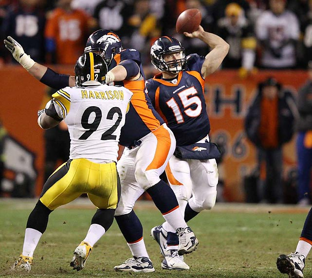 Hailed by some, reviled by others, Tim Tebow came up with his most heroic moment of an unpredictable 2011-12 season during the AFC Wild Card playoffs against Pittsburgh. After forcing overtime in a game in which Pittsburgh was heavily favored, Tebow found an open Demaryius Thomas over the middle, who shed two Steelers' defenders en route to an 80-yard, game-winning touchdown reception.