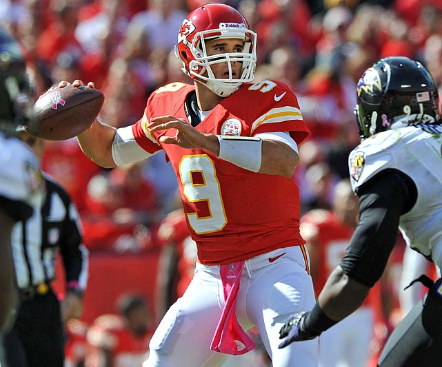 Matt Cassel was concussed in last weekend's touchdown-less torture-fest against the Ravens. That has opened the door for the former Notre Dame, Browns and Broncos signal-caller, who with a good showing this week could potentially stake claim to the stating job in Kansas City.  The Buccaneers are exactly the team to audition against, as they are allowing a league-high 354.8 passing yards per game as well as the sixth-highest passer completion rate (66.5 percent).