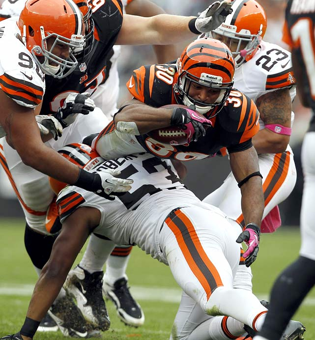 With Bernard Scott out for the year and Brian Leonard sidelined, Peerman picked up the slack when BenJarvus Green-Ellis needed a breather last week, finishingwith eight receptions for 76 yards in Cleveland. Though he'll face the Steelers' aggressive defense, a repeat performance featuring more traditional carries is quite possible.