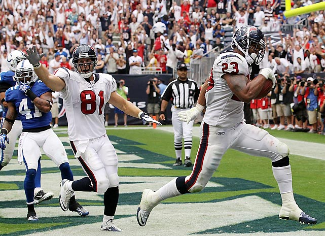 Undrafted second-year running back Arian Foster won the starting job out of camp, but remained relatively unknown despite two strong games to close the 2009 season. On the first game of the 2010 season, Foster became a household NFL name -- rushing for 231 yards and three touchdowns against Indianapolis. It was one of eight games of over 100 rushing yards for Foster that season and established him as an elite NFL running back.