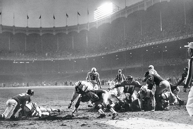 "Yes, the Colts were still located in Baltimore at the time, but it would be remiss to exclude what most NFL experts call ""The Greatest Game Ever Played."" Legendary Colts quarterback Johnny Unitas compiles an incredible game-tying drive to force sudden death overtime in a back-and-forth 1958 NFL Championship against the New York Giants. Then, on a third-and-goal from the one-yard line, running back Alan Ameche plunges into the end zone to conclude what is still considered the greatest game ever played."