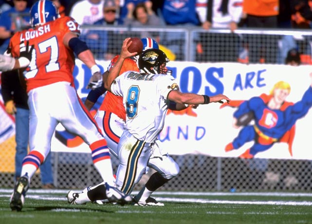 The Jaguars were 12.5 point underdogs against a powerful Denver Broncos side featuring John Elway, Terrell Davis, Ed McCaffrey and Shannon Sharpe. It was just the second season in franchise history, yet the Jaguars rode the efficiency of quarterback Mark Brunell and the powerful running of Natrone Means to stun the Broncos 30-27 at Mile High Stadium and advance to the AFC Championship Game just one year after their inaugural season.