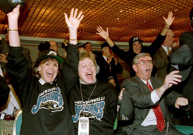 In a major upset, Jacksonville is awarded an NFL expansion franchise over the bids of Memphis and former NFL cities Baltimore and St. Louis. Jacksonville had previously failed in efforts to lure the Baltimore Colts and Houston Oilers to move to north Florida.