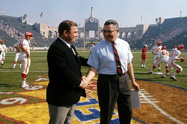 After beating Buffalo in the AFL championship game, the Chiefs represent the league in the inaugural NFC-AFC World Championship Game (later to become known as the Super Bowl). Kansas City hangs in for a half against the NFL champion Packers and trails 14-10 before Green Bay pulls away for a 35-10 victory.
