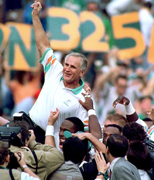 The Dolphins defeat Philadelphia 19-14 to give coach Don Shula a record 325th NFL victory, one better than George Halas. Shula will finish his career with a record 347 wins.