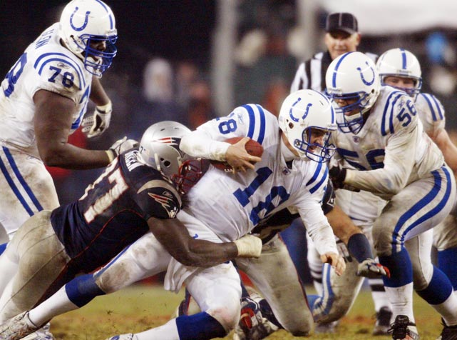 To get to their second Super Bowl in three years, the Patriots had to knock off visiting Indianapolis in the AFC title game. A top-notch defensive performance against the high-powered Peyton Manning-led Colts -- safety, four sacks and four interceptions (three by cornerback Ty Law) -- resulted in an impressive 24-14 win and an eventual second Super Bowl title against Carolina.