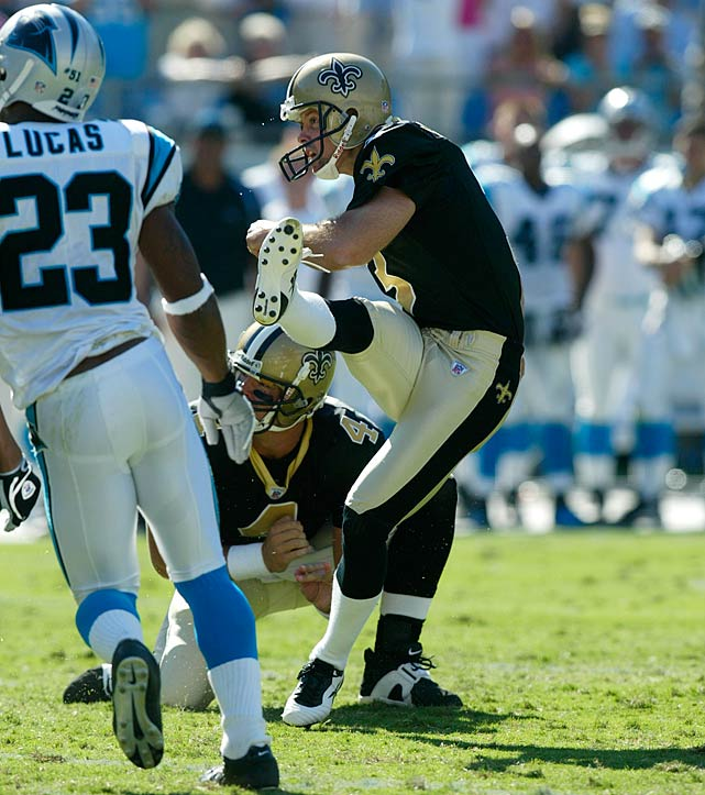 John Carney's 47-yard field goal with three seconds left lifts the Saints to a 23-20 win in Carolina in the season opener. The Saints give a game ball to the city of New Orleans and the Gulf Coast region, both of which had been recently ravaged by Hurricane Katrina. The storm forced the Saints to be displaced to San Antonio that season and play every game on the road.