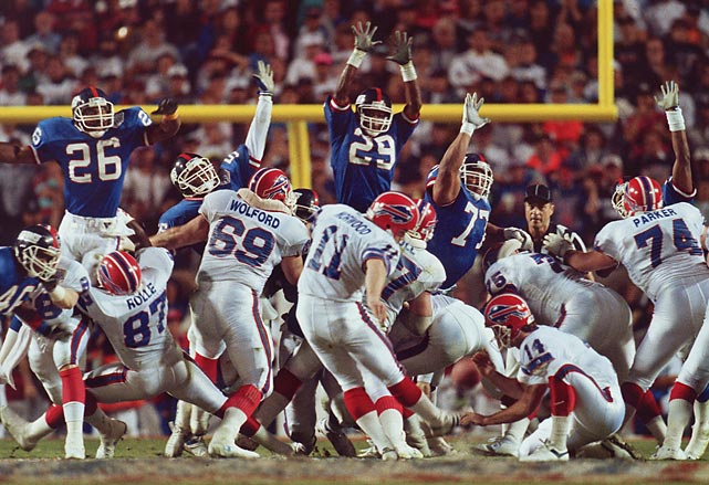 MVP Ottis Anderson rushes for 102 yards and a touchdown and career backup quarterback Jeff Hostetler throws for 222 yards and a TD as Giants hold the ball for more than 40 minutes in 20-19 upset of Buffalo in Super Bowl XXV. Jeff Norwood's 47-yard FG attempts sails wide right in the final seconds.