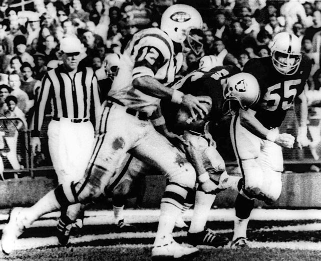 "With only 65 seconds left in a heavyweight AFL slugfest against the Joe Namath-led Jets, the Raiders trailed 32-29. Suddenly NBC switched to its previously scheduled programming, the movie ""Heidi,"" and few saw the thrilling conclusion of the game. The Raiders staked a torrid comeback, scoring on a Daryle Lamonica touchdown pass, followed by a fumbled Jets kickoff return for another Raiders score, and it was forever termed ""The Heidi Game,"" many considering it the most memorable regular-season professional football game in history."