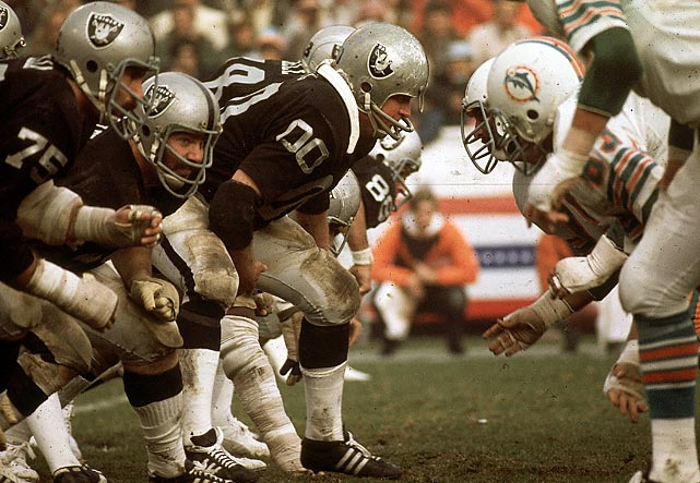 "The Raiders hosted the two-time defending Super Bowl champion Dolphins in an AFC Divisional playoff. Down 26-21 with two minutes to go, Ken Stabler drove his team 68 yards down the field, somehow finding running back Clarence Davis in the end zone through a ""sea of hands"" from Miami defenders to take the lead and eventually the win, 28-26."
