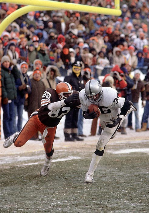 Under frigid conditions in a divisional playoff at Cleveland Stadium, the Raiders were up 14-12 with less than a minute in the game, but the favored Browns in field goal range. Rather than attempt a kick because the field was frozen, Cleveland's quarterback called Red Right 88 and went for the touchdown. Raiders safety Mike Davis intercepted the ball in the end zone, sending the Raiders to the AFC Championship, and then Super Bowl XV, where they defeated the Eagles for their second title in five seasons.