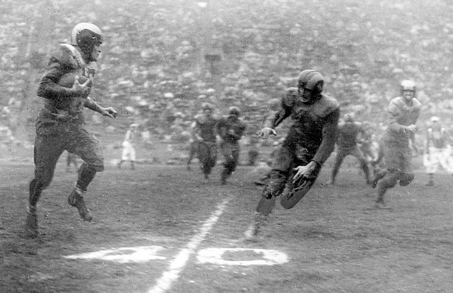 Steve Van Buren plows for 196 yards rushing on a muddy L.A. Coliseum field caused by 3 inches of rain as Eagles win their second straight NFL championship, 14-0, over the L.A. Rams.