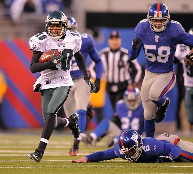 Trailing 31-10 with 10 minutes to play, the Eagles rally for four fourth-quarter touchdowns to stun the New York Giants, 38-31. DeSean Jackson dashes 65 yards with a punt return on the game's final play. The win propels Eagles to NFC East championship.