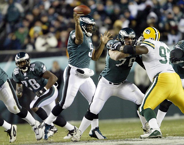 The Eagles were backed up against their own 25-yard line with 1:12 remaining in the game and no timeouts left, trailing the Packers 17-14. Facing a 4th and 26, Quarterback Donovan McNabb finds wide receiver Freddie Mitchell on the 74 Double Go route to split the Packers' secondary and get the first down. David Akers would kick a field goal a few plays later and another one in overtime to beat Green Bay in the  NFC Divisional Playoffs