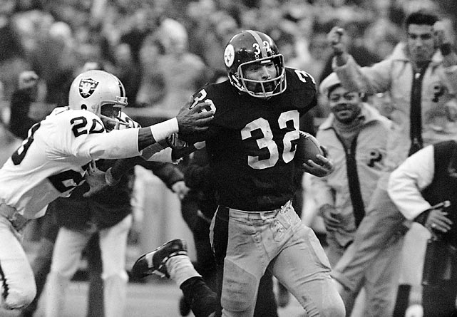 "Trailing 7-6 to the Raiders in an AFC Divisional playoff game at old Three Rivers Stadium, the Steelers had just 22 seconds on the clock as they faced fourth-and-10 from their own 40-yard line. Fullback Franco Harris collected a tipped ball as it nearly grazed the ground and ran all the way down the field for the game-clinching score in a play that is known simply as the ""Immaculate Reception."" The victory was seemingly the franchise's turning point and put Pittsburgh on the path of four Super Bowls in six years."