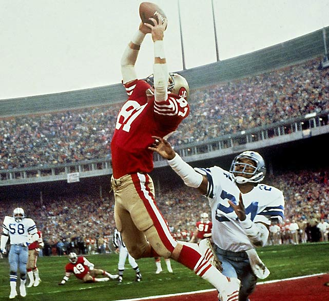 "Facing third-and-3 at the Dallas 6-yard line with 58 seconds left and his team trailing, 27-21, quarterback Joe Montana rolls out to his right and throws a high pass into the back of the end zone, where Dwight Clark makes a leaping, game-winning reception in the NFC championship game. The play will forever be known as ""The Catch,"" and it represents the beginning of the 49ers' rise as a Super Bowl power."
