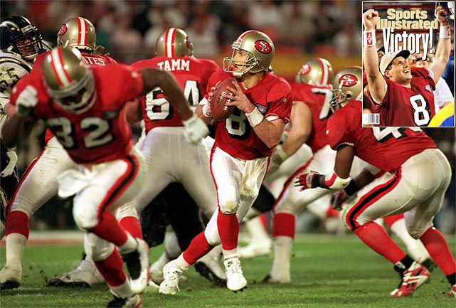 Steve Young finally gets the monkey off his back. After being the backup quarterback to Montana in two previous Super Bowls, Steve Young passes for 325 yards and a Super Bowl-record six touchdowns in leading the 49ers to a 49-26 triumph over San Diego in Super Bowl 24. Young is named the game's MVP.