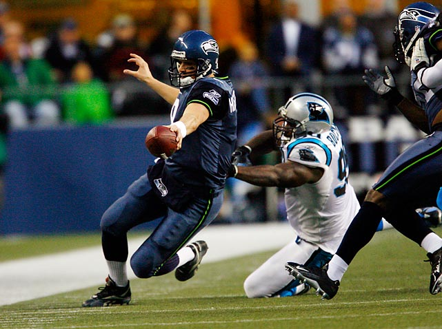 In only the second conference title game in the franchise's history, the Seahawks faced the visiting Panthers, who had represented the NFC and nearly won the Super Bowl two seasons before. Matt Hasselbeck and Shaun Alexander guided Seattle to a resounding 34-14 win over Carolina and the Seahawks went on to make their only Super Bowl appearance to date.