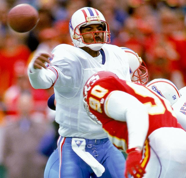 Quarterback Warren Moon completed 27 of 45 passes as the Oilers beat the Chiefs 27-10 in Kansas City. Moon's 527 passing yards were the second-most, single-game total in NFL history (behind Norm Van Brocklin's 554 yards in 1951). In the same game, wide receiver Haywood Jeffires caught nine passes for 245 yards.