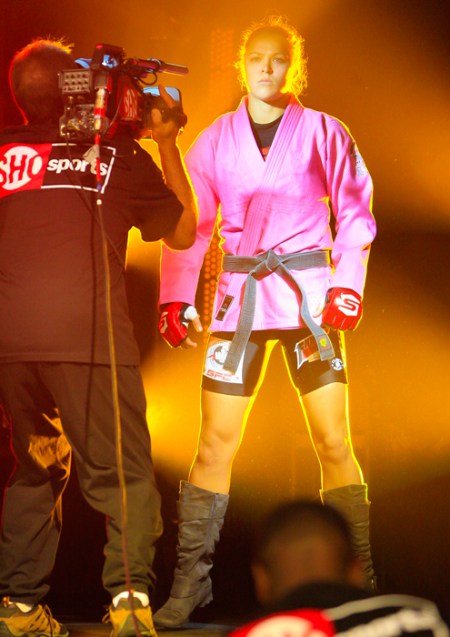 Rousey gets ready to enter the cage during the Strikeforce Challengers 4 at The Palms Casino Resort in Las Vegas.