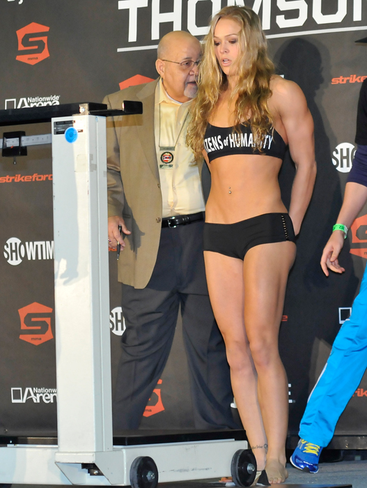 Ronda Rousey during the weigh-in for her bout against Meisha Tate.