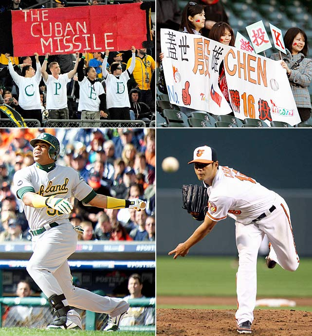 It's a small-market party in this year's playoffs, and several of the most important players hail from outside of the United States. Whether it's Cubans Yoenis Cespedes and Aroldis Chapman or the Taiwanese Wei-Yin Chen, Albert Chen writes that the world market is becoming an important place to help build a World Series contender.
