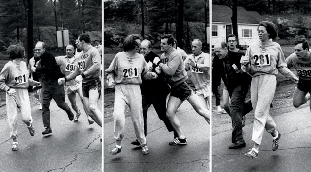 Syracuse student Kathrine Switzer became a household name when she competed in the all-male Boston Marathon under the name K. Switzer. Two miles into the race, an official tried to forcibly remove her from the competition. Luckily for Switzer, her 235-pound boyfriend was running with her and easily knocked the offical out of the way, allowing her to finish the race. She also competed in 1972, the first year women were officially allowed  in the race.