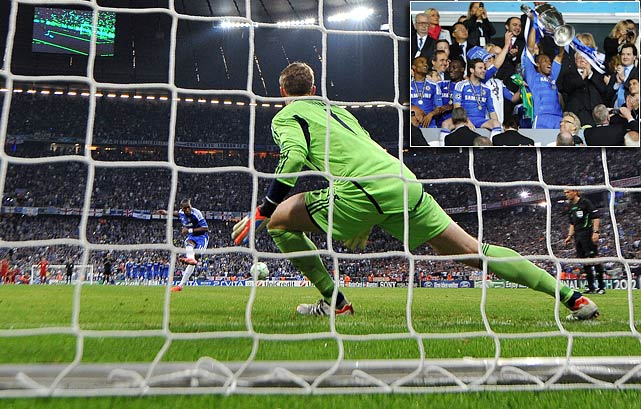 It was the tournament that Chelsea couldn't win. That is, until Chelsea captain Didier Drogba scored the game-tying goal and then won it in what was his final kick at the club. Drogba's penalty kick at the end of extra time gave the London squad a win over Bayern Munich in Munich.