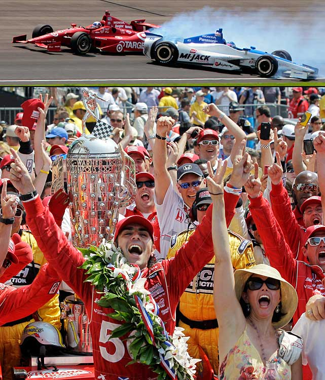 Dario Franchitti took the lead in the Indianapolis 500 on the next to the last lap and withstood a last-minute challenge that sent Japan's Takuma Sato crashing into the wall, to win the race for the third time in his career.