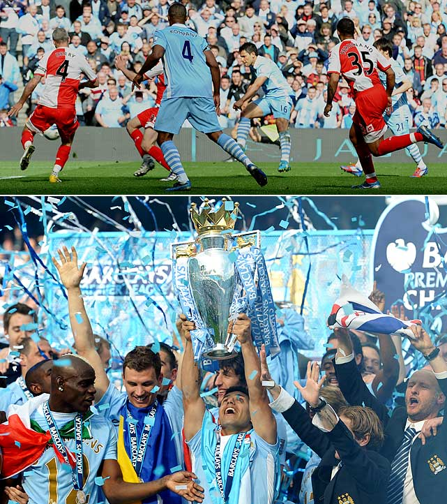 In what was possibly the most memorable goal in Premier League history, Manchester City's Sergio Aguero gave his team the title with a game-winning goal in the final minute of the match, tearing the trophy away from rivals Manchester United, which thought the title was theirs.