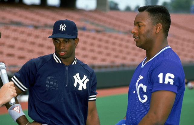 Jackson and Deion Sanders talk to the media before a game.