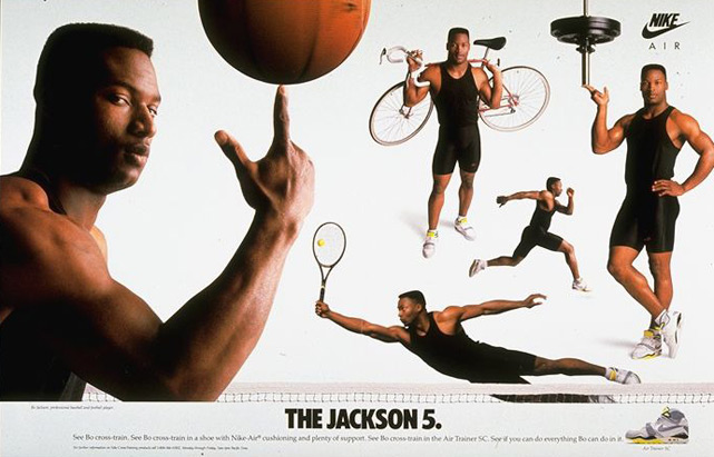 Jackson's various talents are on display in this famous Nike print ad.