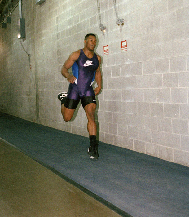 Jackson runs wind sprints to help him recover from an operation that left him with an artificial hip. Jackson would miss the entire 1992 season because of the injury.