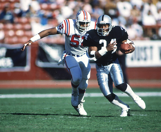 Jackson runs past a Patriots defender during a 1989 game. That year Jackson ran for a career-best 950 yards.