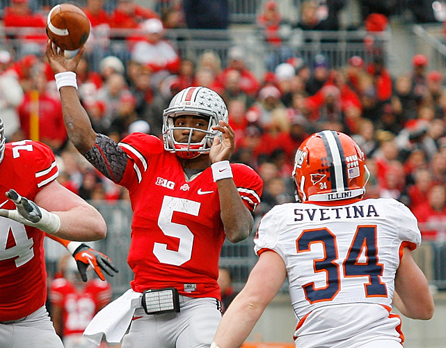 Urban Meyer is one game closer to an undefeated debut season in Columbus. Braxton Miller (pictured) amassed 299 total yards and three touchdowns, Carlos Hyde scampered for 137 yards and three scores and Ohio State routed Illinois in Week 10. The Buckeyes' defense also rose to the occasion. Illinois scored just six points in the first half and finished with a mere 170 yards of total offense.
