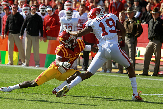 The Sooners offense was held in check last week against Notre Dame, but it certainly sprung to life Saturday at Iowa State. Landry Jones threw for 405 yards and four touchdowns, Brennan Clay ran for 157 yards and a score and Justin Brown (pictured) made seven receptions for 107 yards and a touchdown. Tony Jefferson also made an interception as Oklahoma topped the Cyclones.
